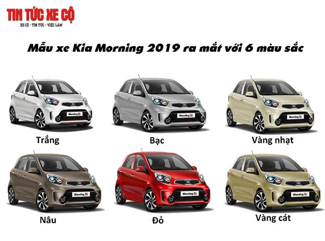 Mẫu xe Kia Morning 2019 ra mắt với 6 màu sắc