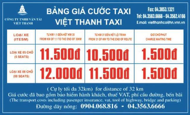 Bảng giá cước Việt Thanh taxi