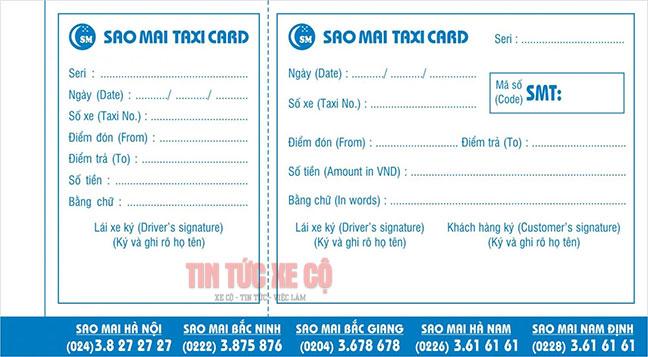 Bill thanh toán sau khi sử dụng dịch vụ Taxi Sao Mai