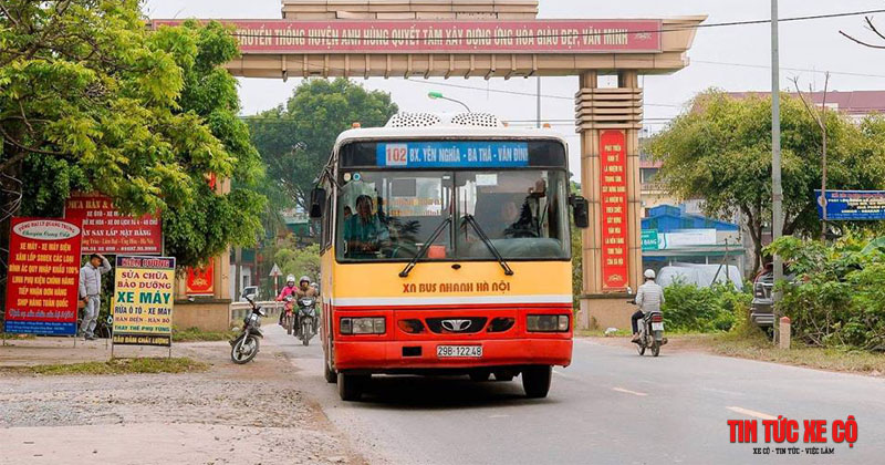 xe buýt 102 hà nội tuyến bến xe yên nghĩa vân đình