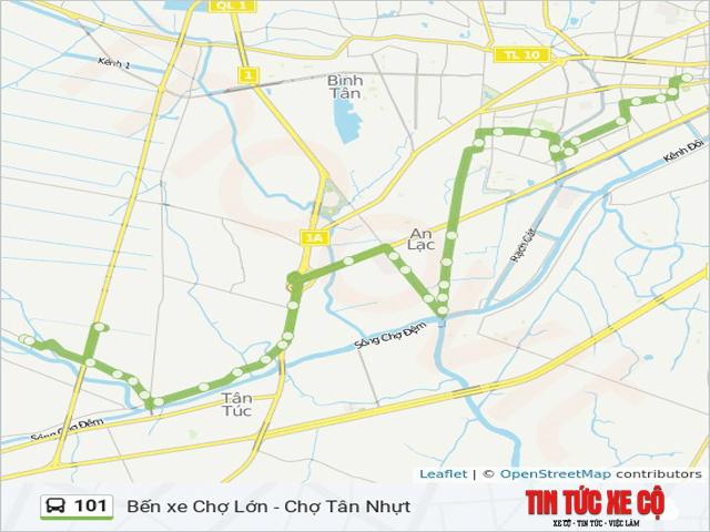 bản đồ tuyến xe buýt 101 tphcm