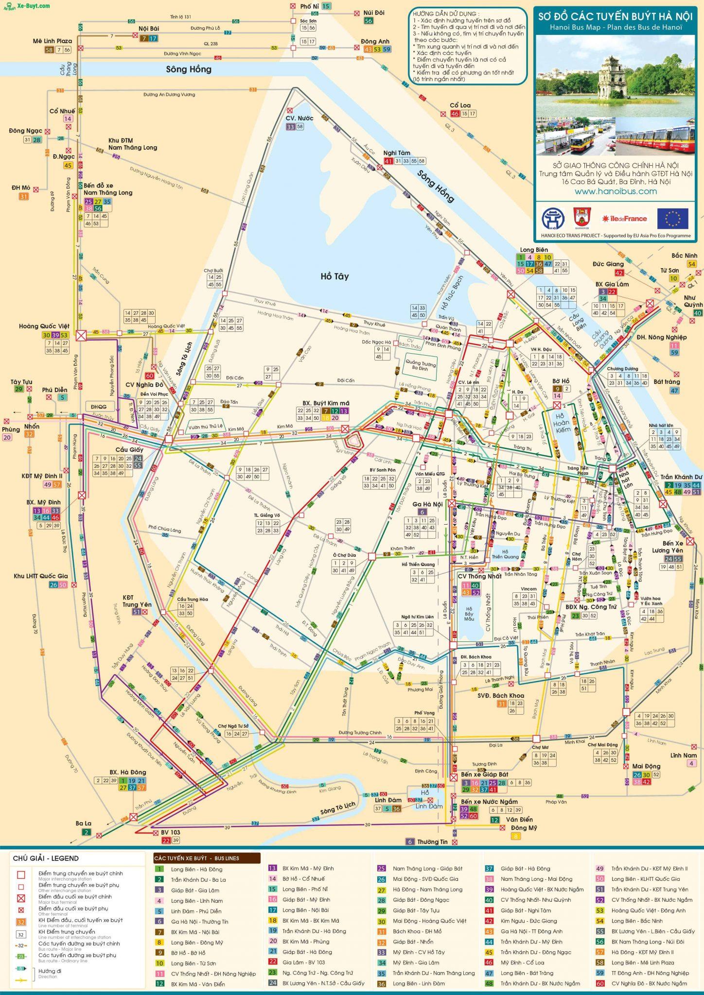 bản đồ xe bus hà nội mới nhất