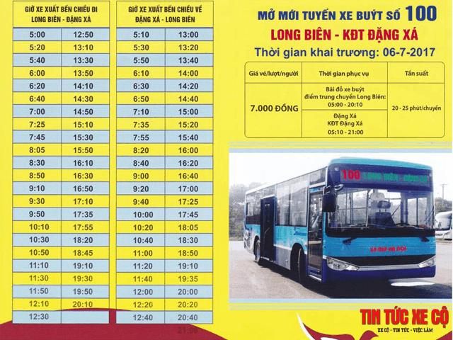 biểu đồ giờ chạy xe buýt 100 hà nội