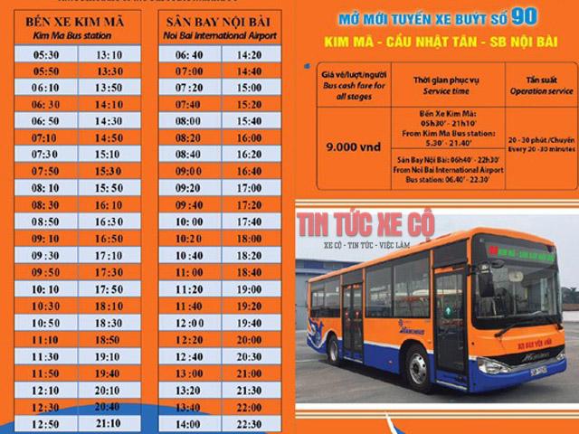 giờ xuất bến tuyến xe buýt 90 hà nội