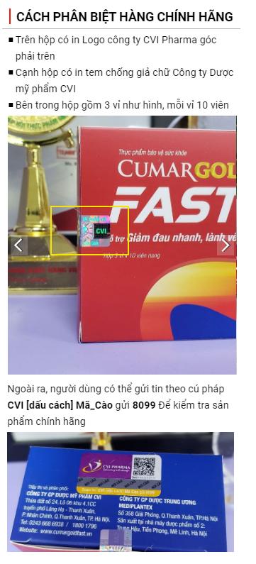 cách phân biệt sản phẩm cumargold fast chính hãng