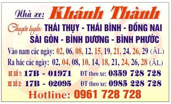Số điện thoại nhà xe Khánh Thành