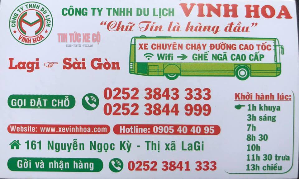 Trụ sở và số điện thoại nhà xe Vinh Hoa